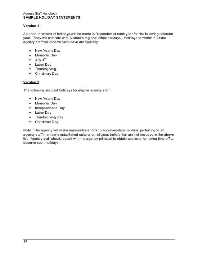 staff handbook sample