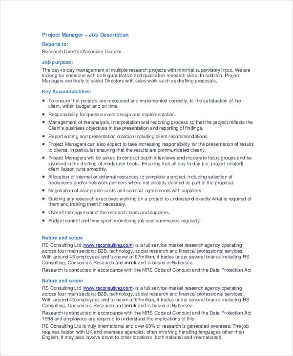 project manager job description pdf