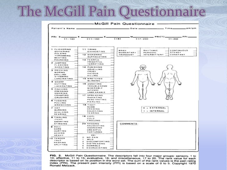 mcgill pain questionnaire pdf