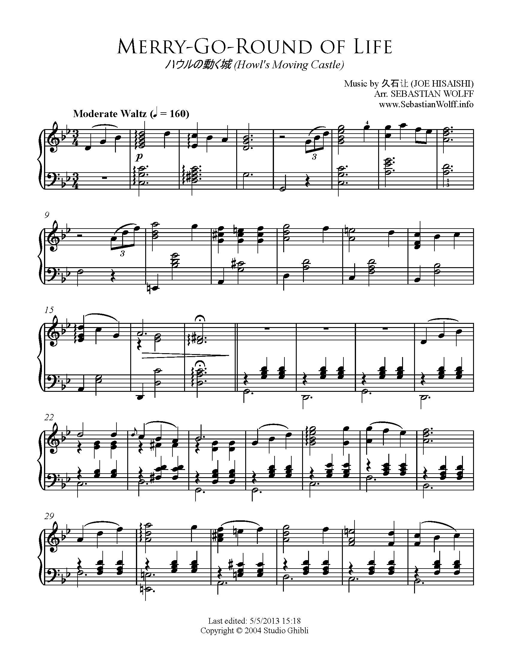 merry go round of life piano sheet music pdf