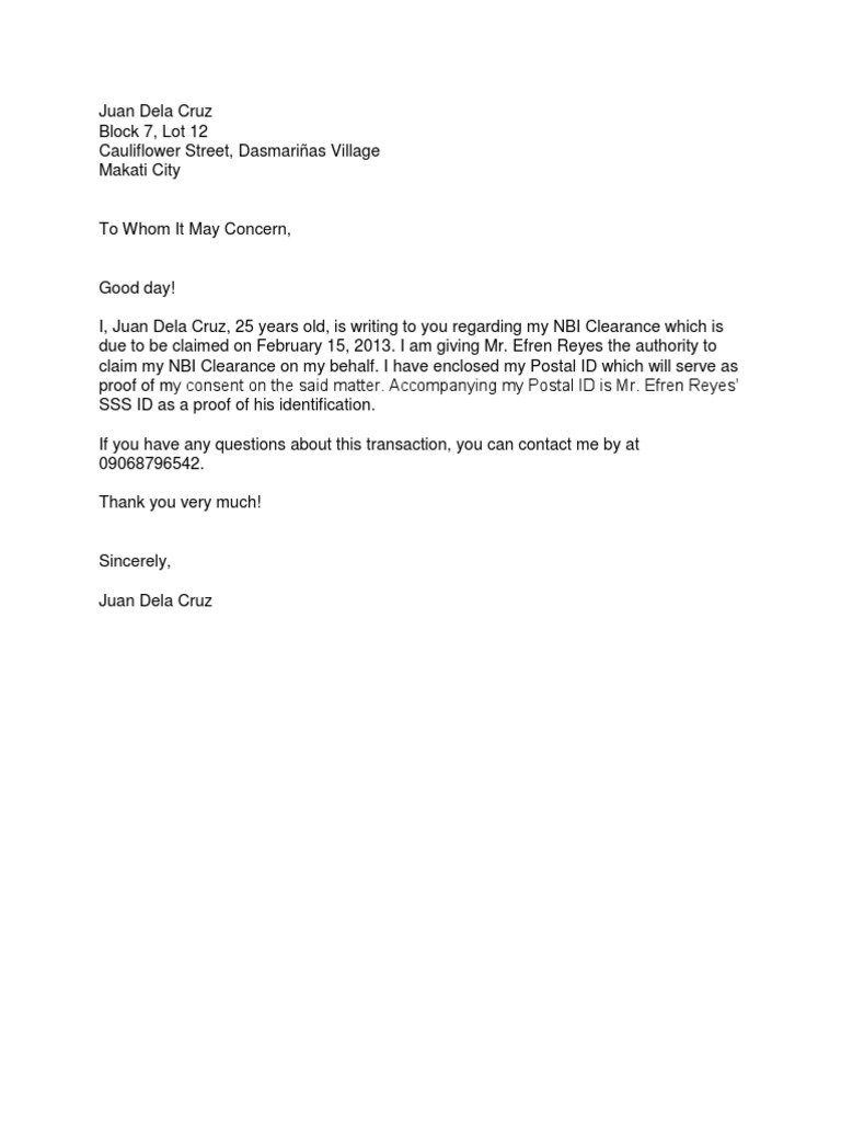 to whom it may concern letter sample for travel