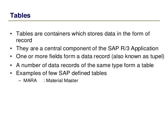sap dictionary mara