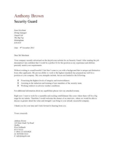 sample application letter for security guard