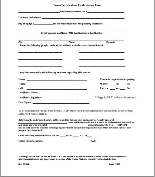 tenant profile sample
