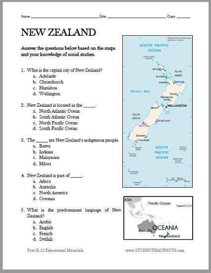 new zealand worksheets pdf