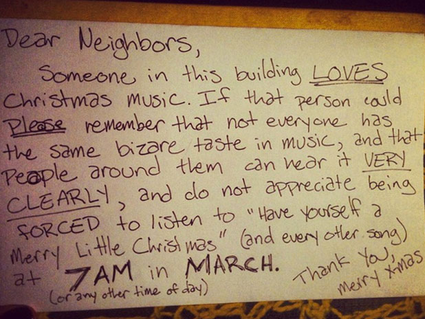 sample letter to neighbor about loud music