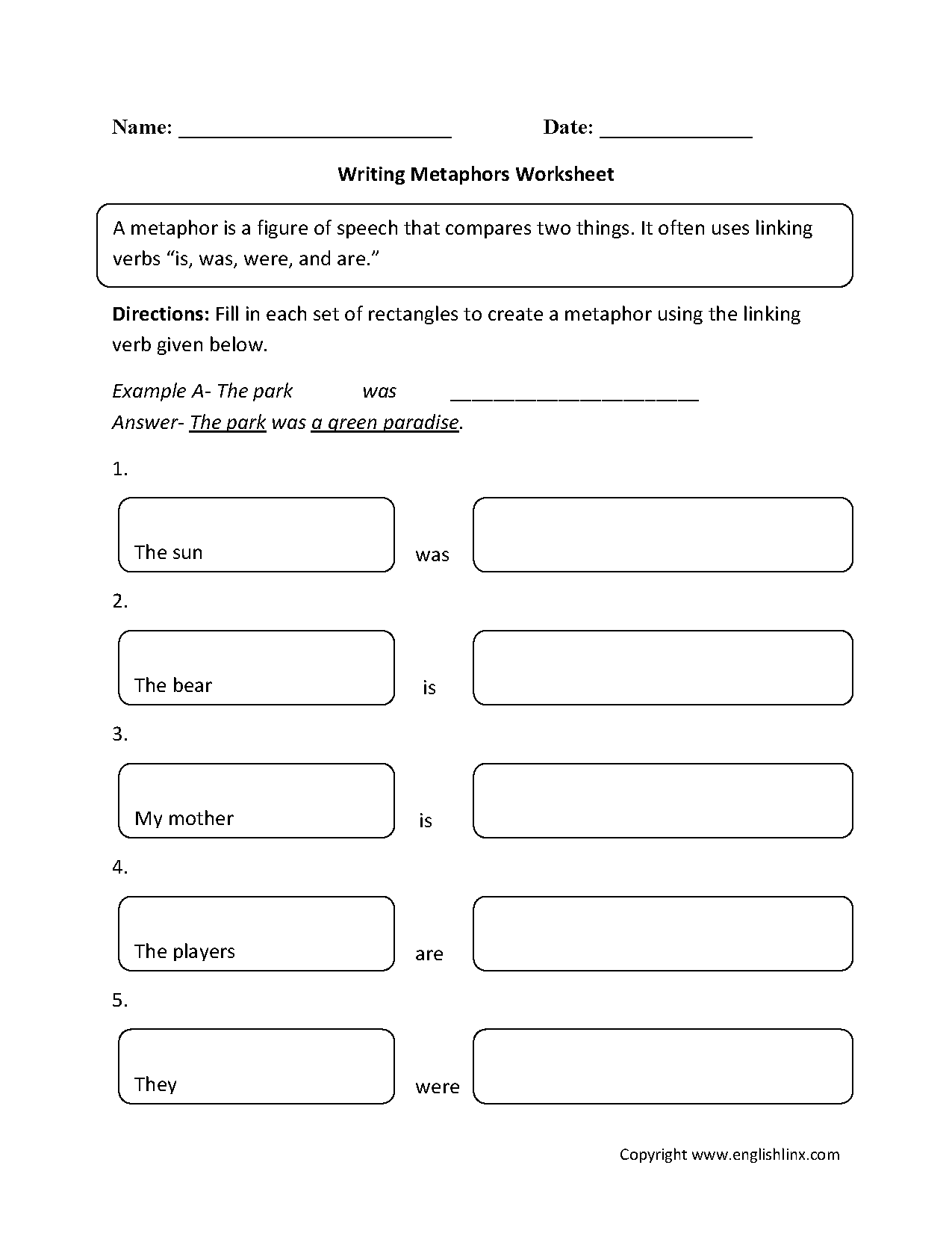 simile and metaphor activities pdf