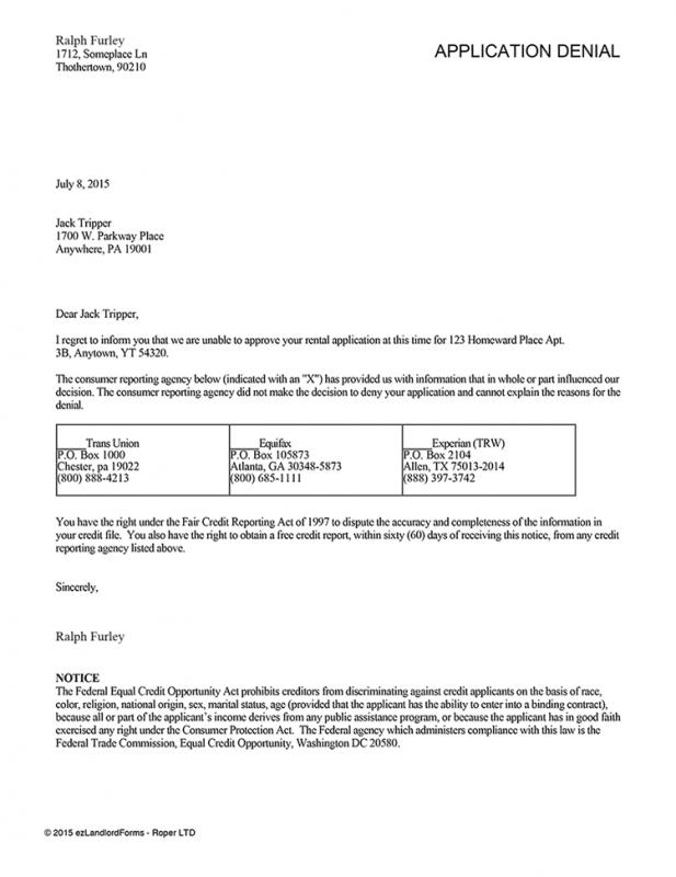 tenancy application rejection letter template