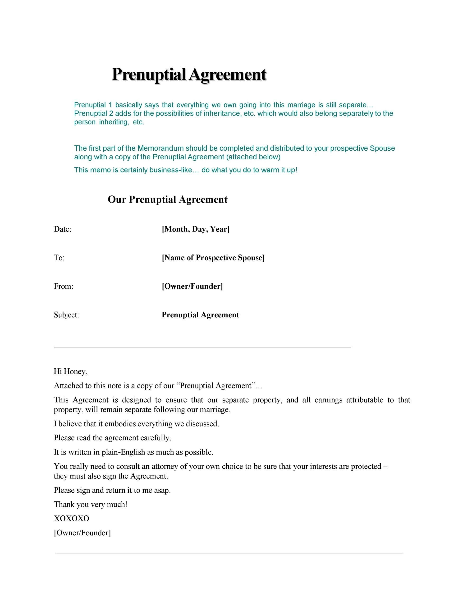 prenup agreement sample