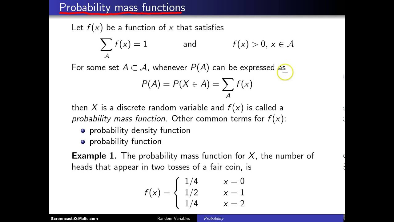 probability mass function pdf