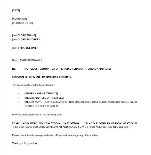 notice to end tenancy sample letter nz