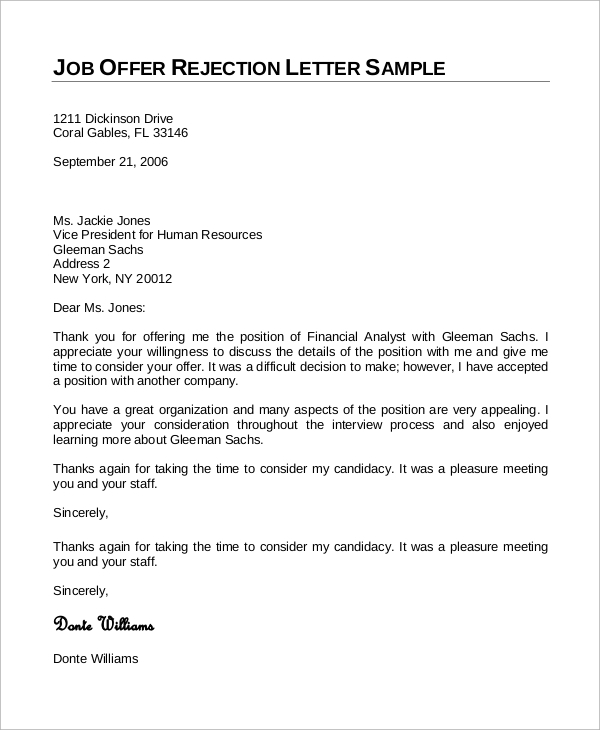 rejection letter for job application before interview