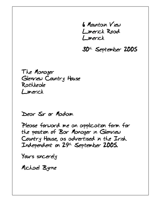 sample letter request form