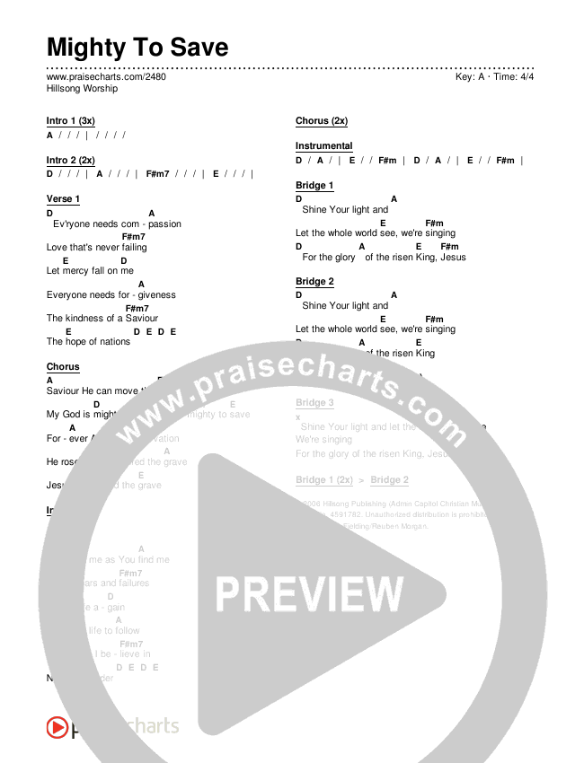 mighty to save chords key of a pdf