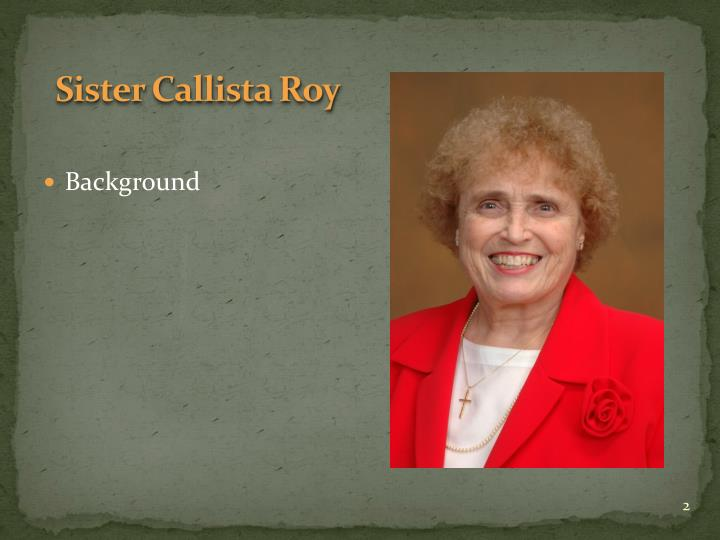 sister callista roy theory application