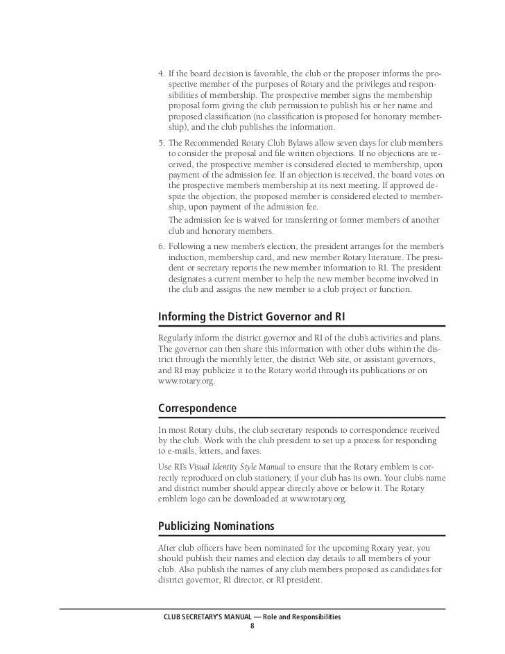 rotary club secretary manual