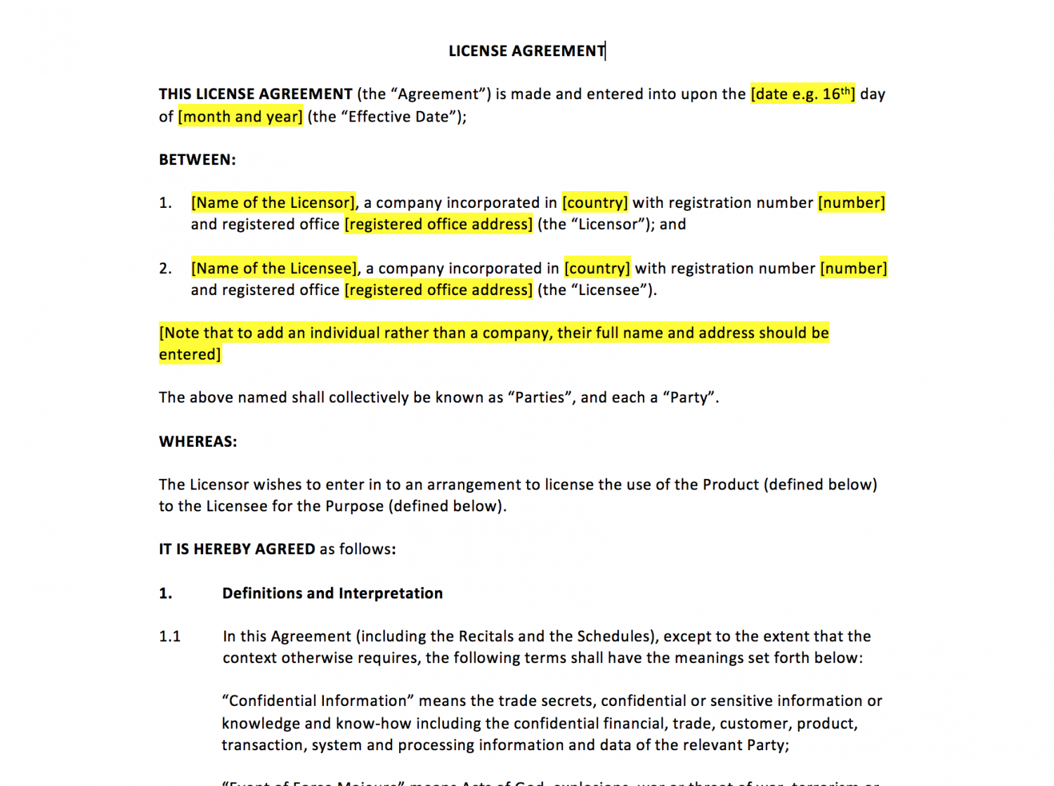 software license agreement sample text