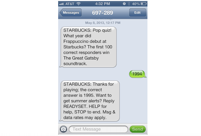 sample sms to customers