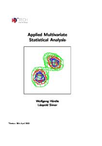 multivariate statistical analysis pdf