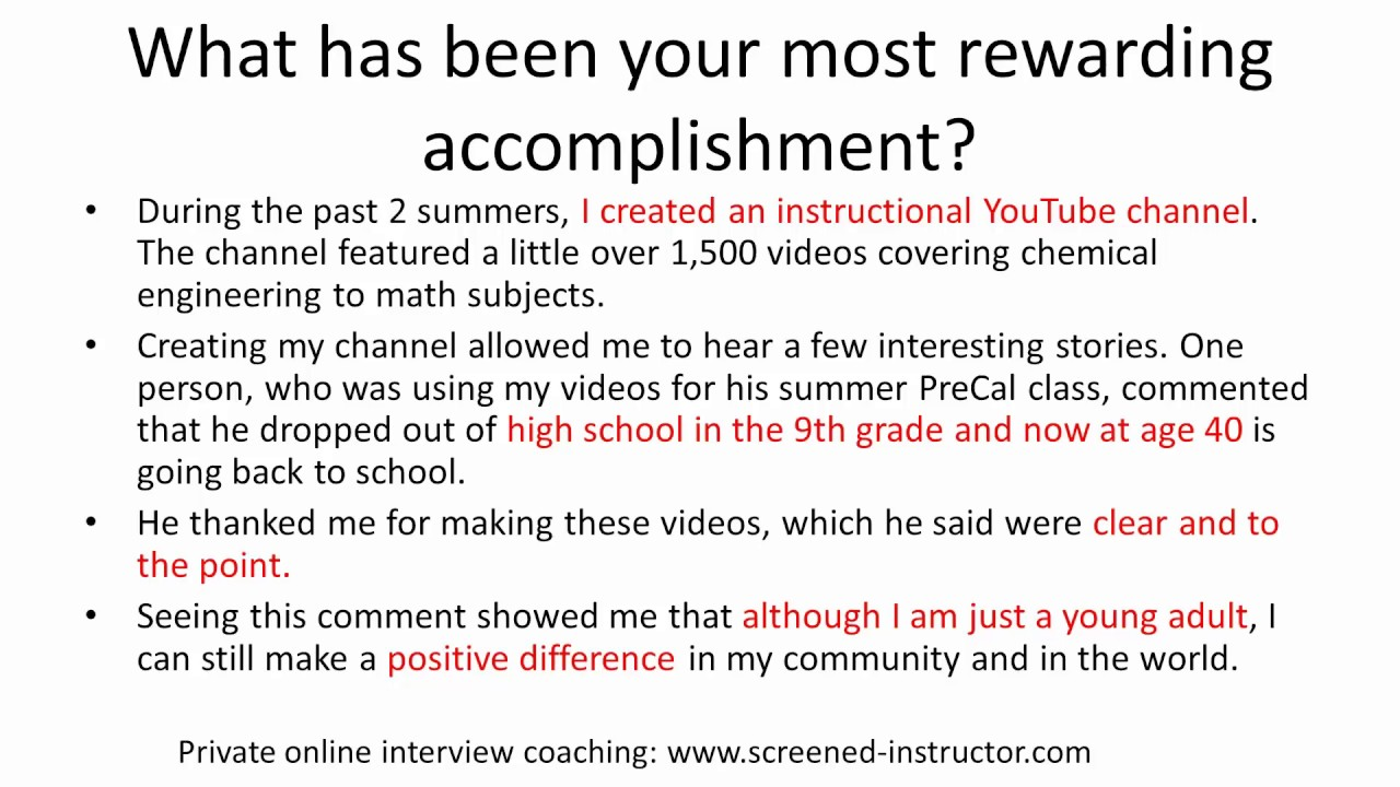 what is your greatest achievement sample answer