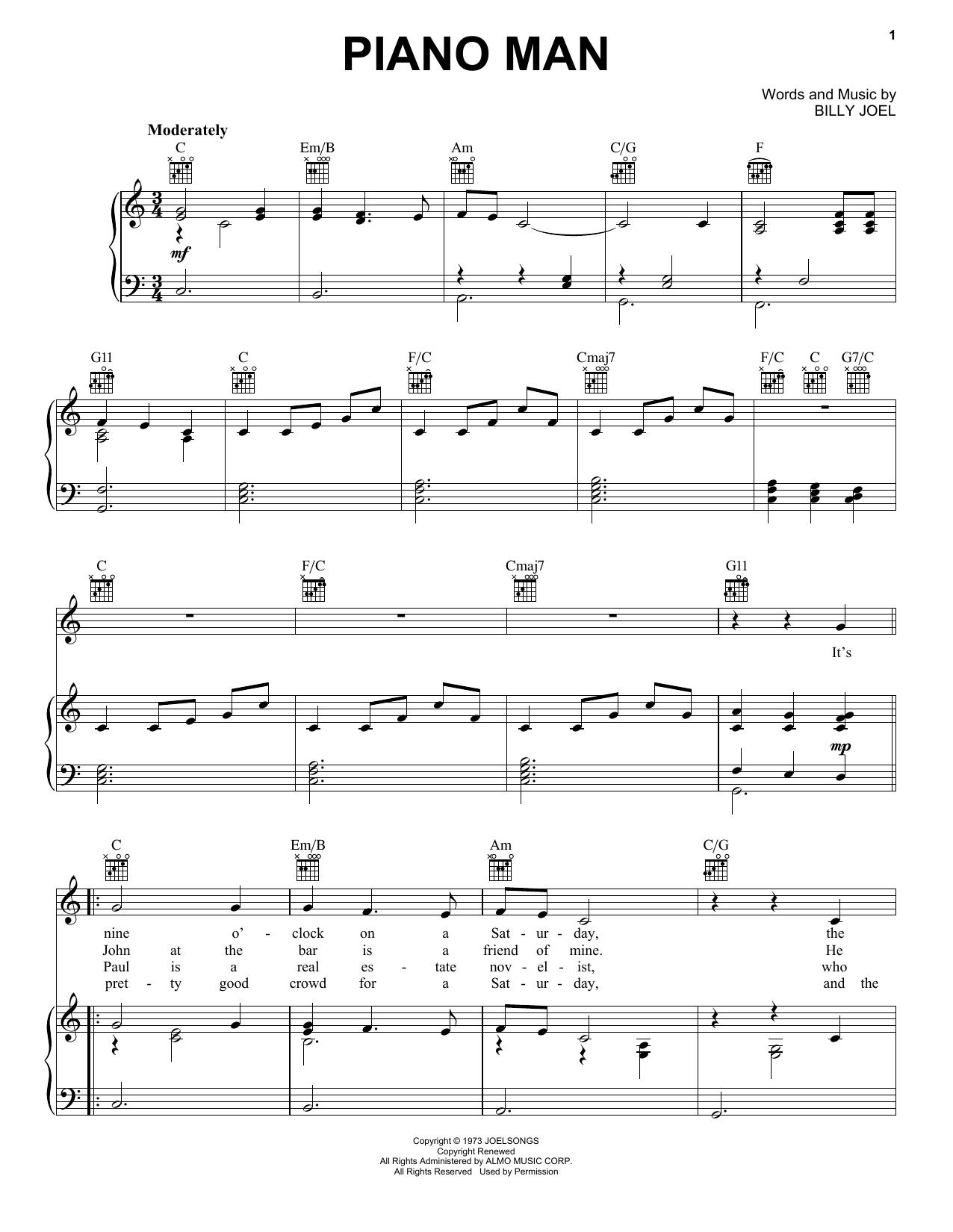 piano man harmonica sheet music pdf