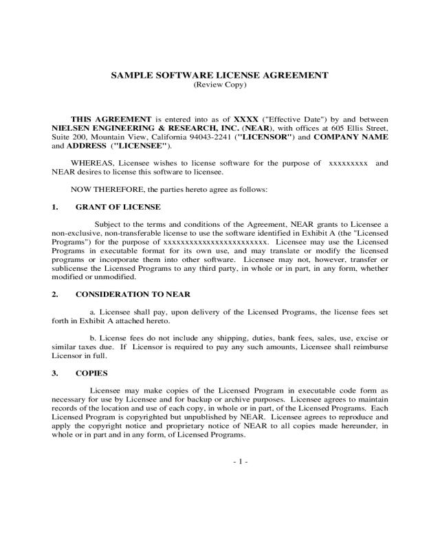 software license agreement pdf
