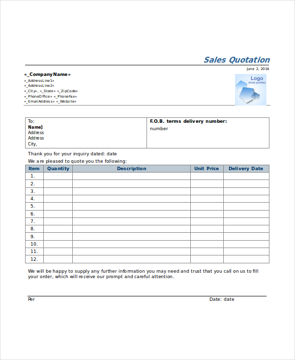 sales quotation sample