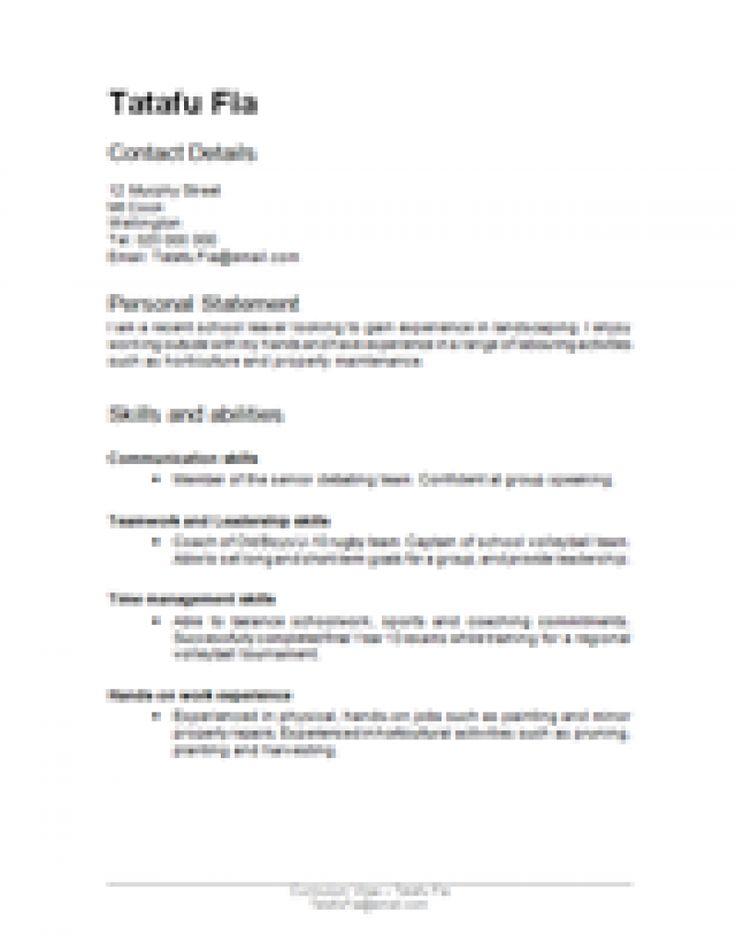 newzealand resume sample