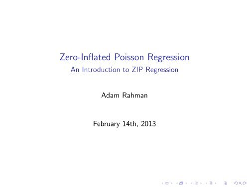zero-inflated poisson regression with an application to defects in manufacturing
