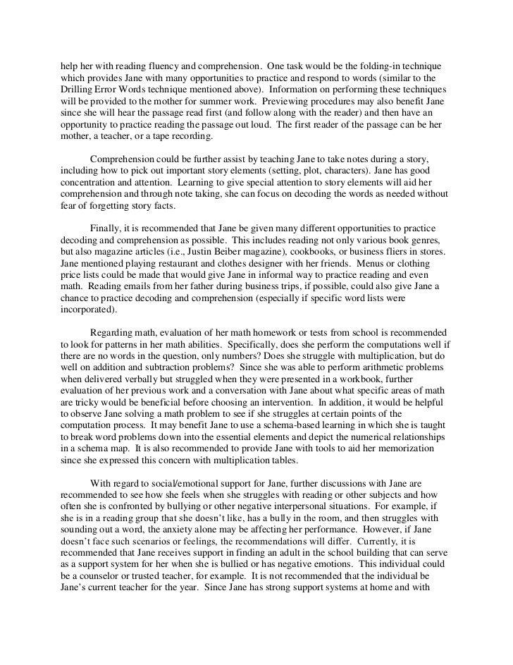 psychological report sample essays