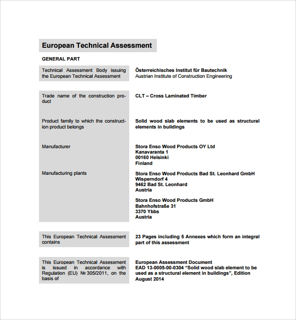 technical evaluation sample