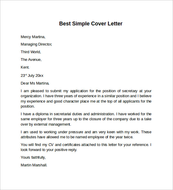simple cover letter sample