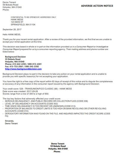 tenancy application rejection letter template