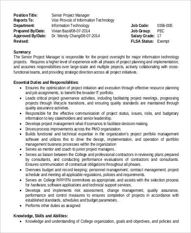 project manager job description pdf