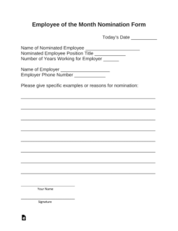 sample nomination form for employee of the month