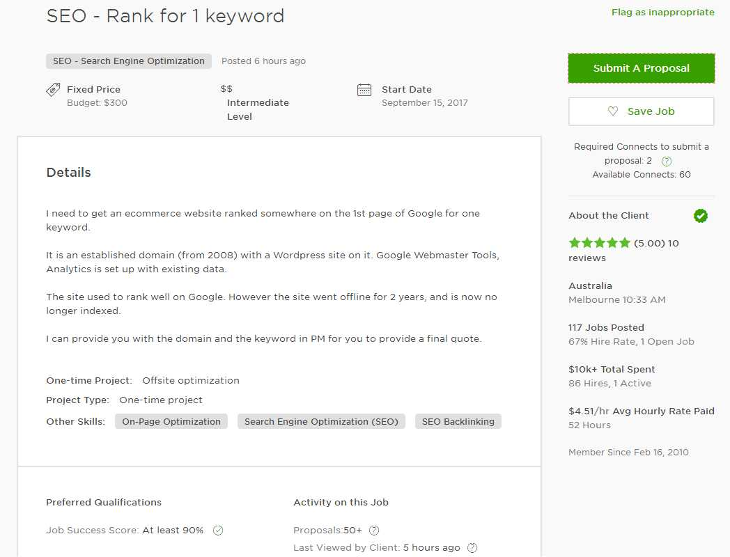 upwork cover letter sample