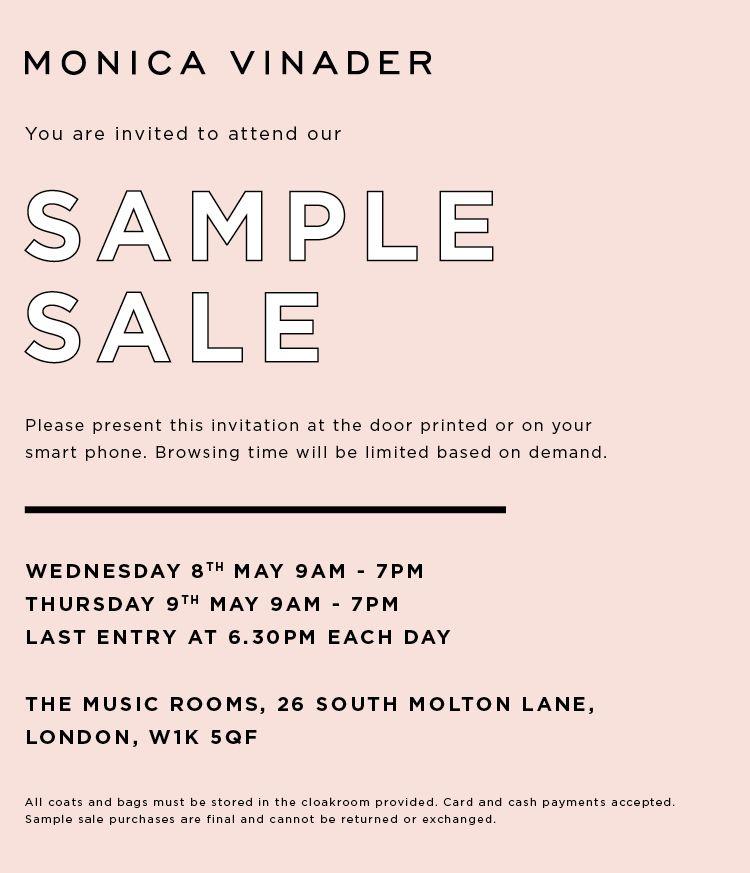 monica vinader sample sale 2019