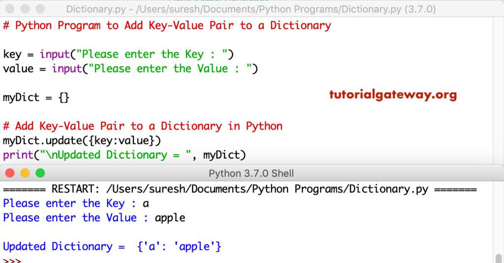 python add to dictionary