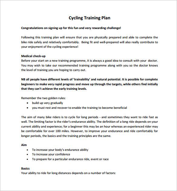 sample training plan outline