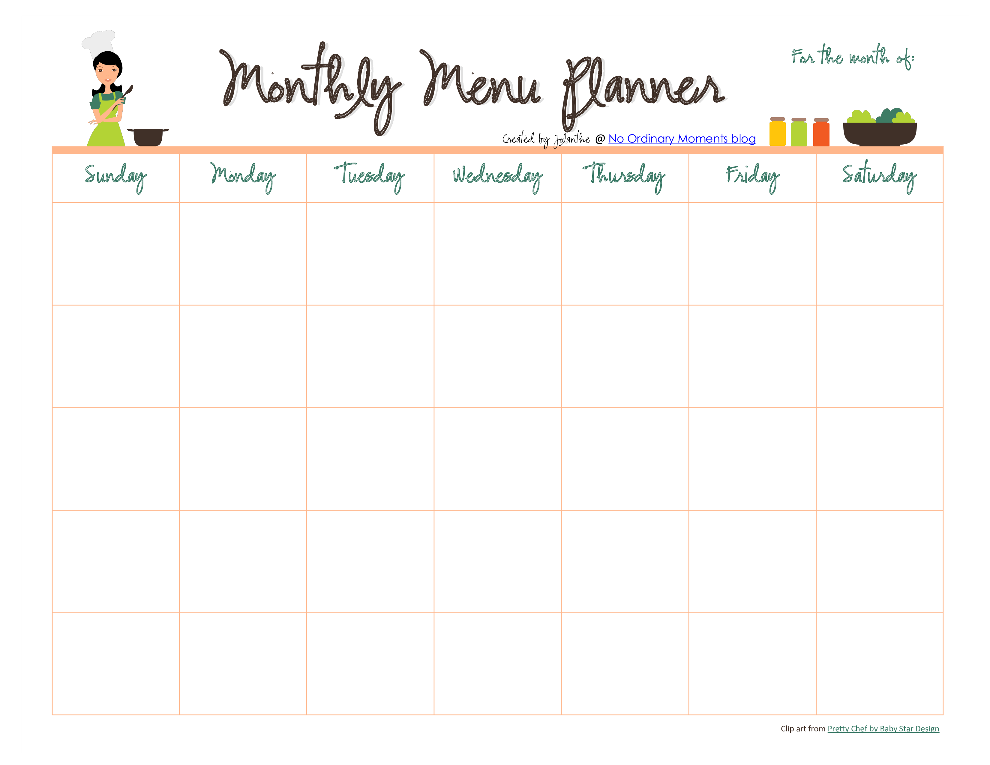 monthly planner pdf