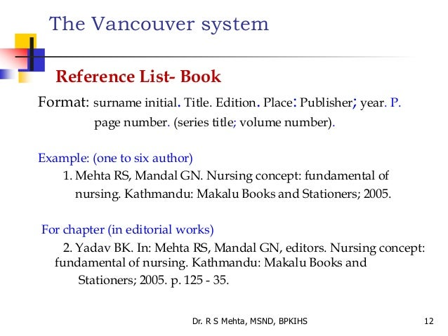 sample of vancouver referencing style