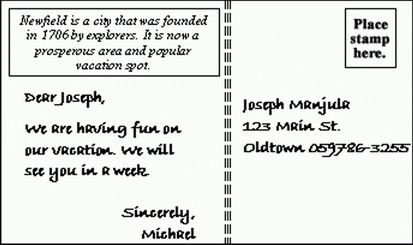 postcard greetings text sample