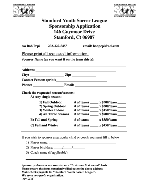 online sponsorship application