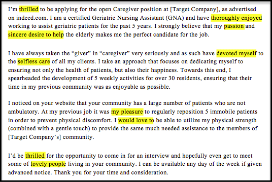 sample covering letter caregiver