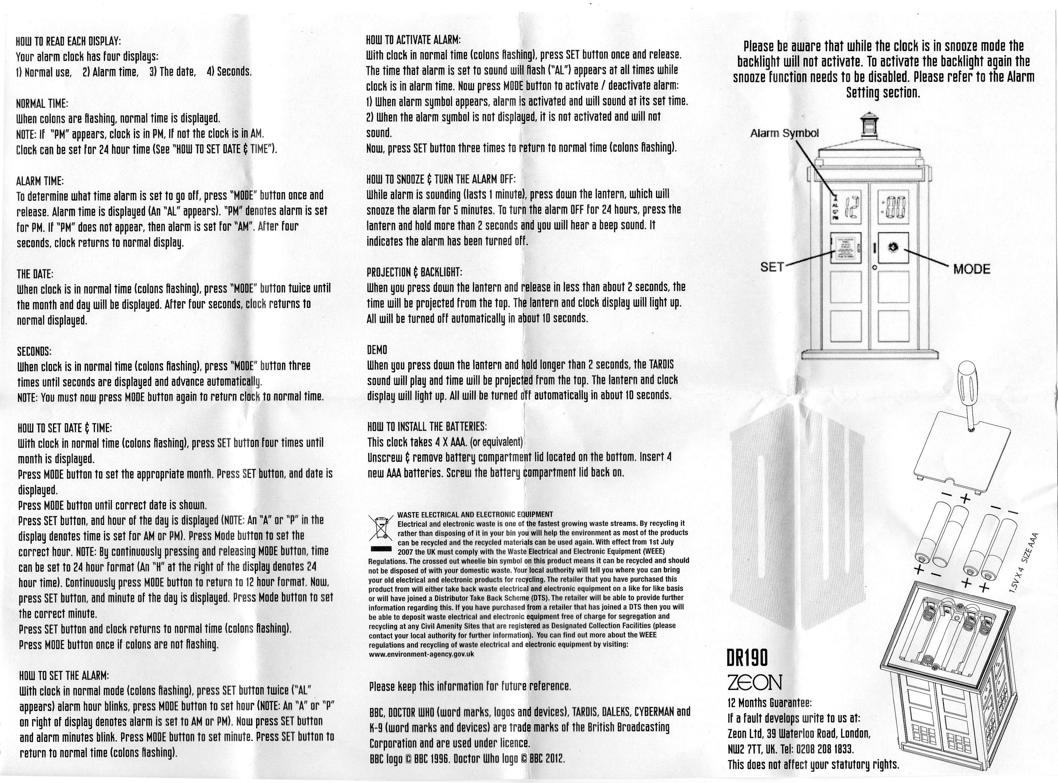 teac alarm clock instructions