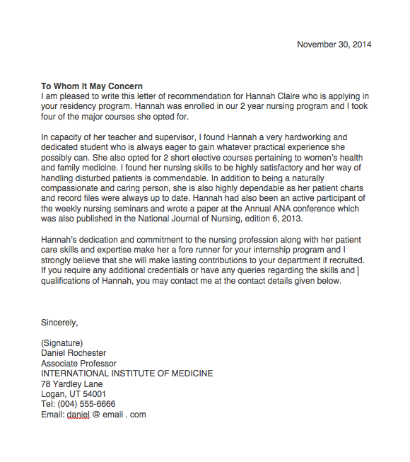 sample reference letter for nursing student