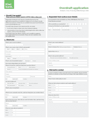 overdraft application kiwibank online
