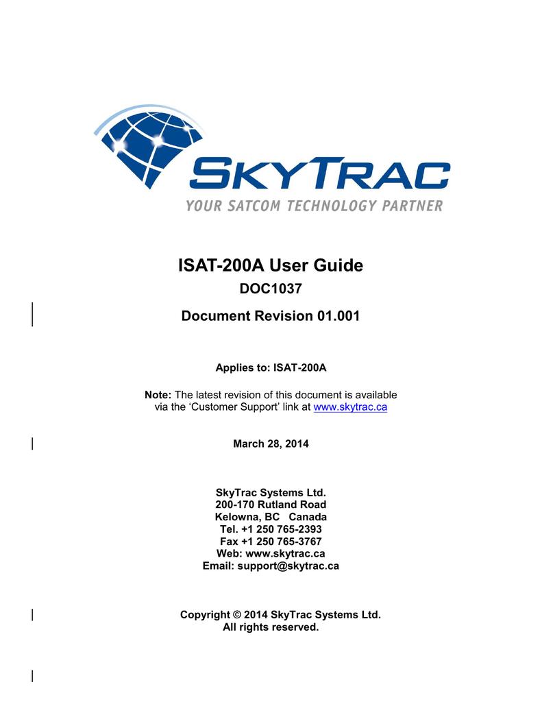 skytrac isat-200 manual