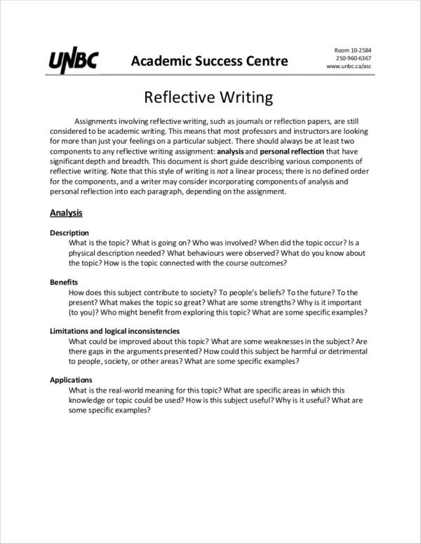 reflective report sample