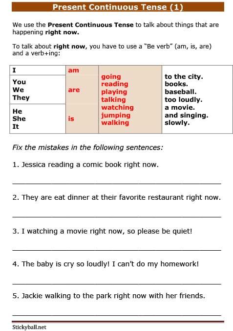 present continuous exercises pdf